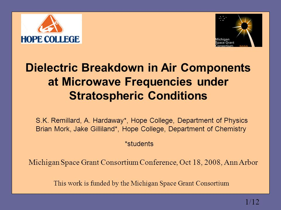 2/12 Motivation To understand the response of thin air to intense microwave fields To study the electrodynamic mechanism involved in Ozone formation