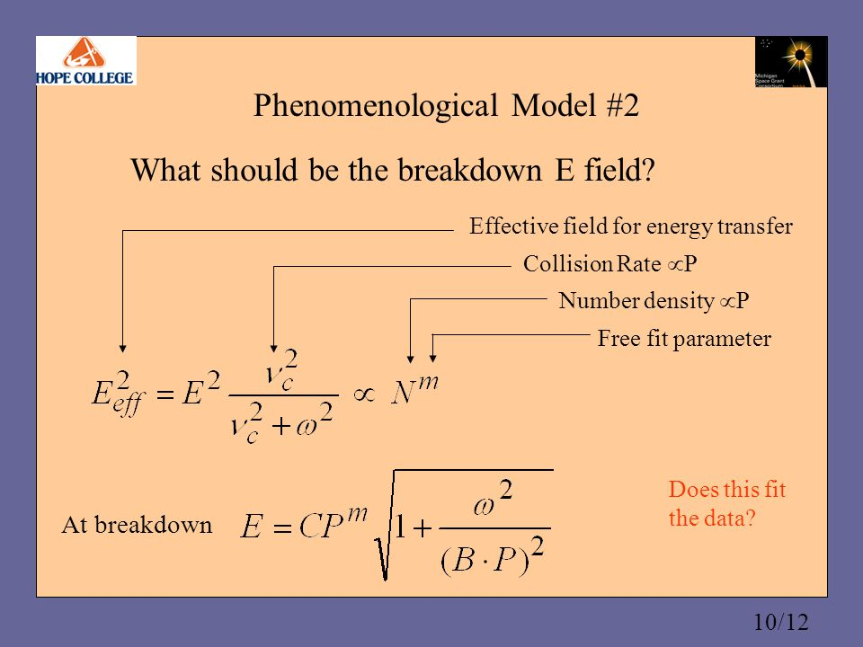 10/12 Phenomenological Model #2 What should be the breakdown E field.