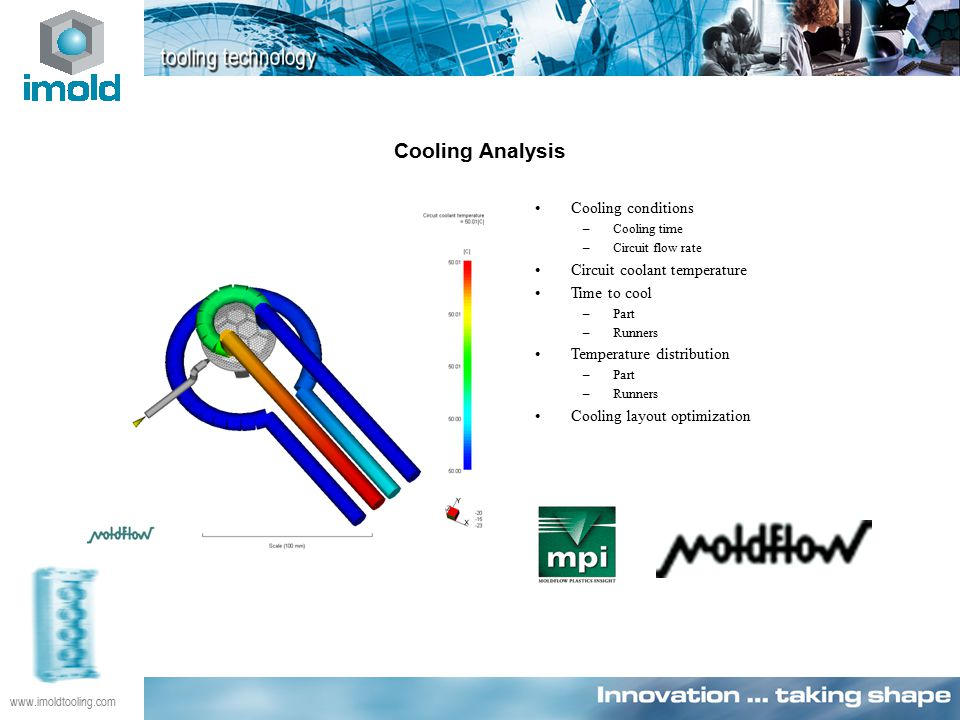www.imoldtooling.com Cooling Analysis Cooling conditions –Cooling time –Circuit flow rate Circuit coolant temperature Time to cool –Part –Runners Temperature distribution –Part –Runners Cooling layout optimization