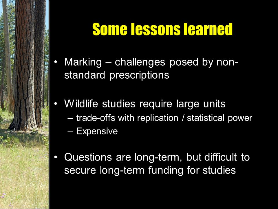 Some lessons learned Marking – challenges posed by non- standard prescriptions Wildlife studies require large units –trade-offs with replication / statistical power –Expensive Questions are long-term, but difficult to secure long-term funding for studies