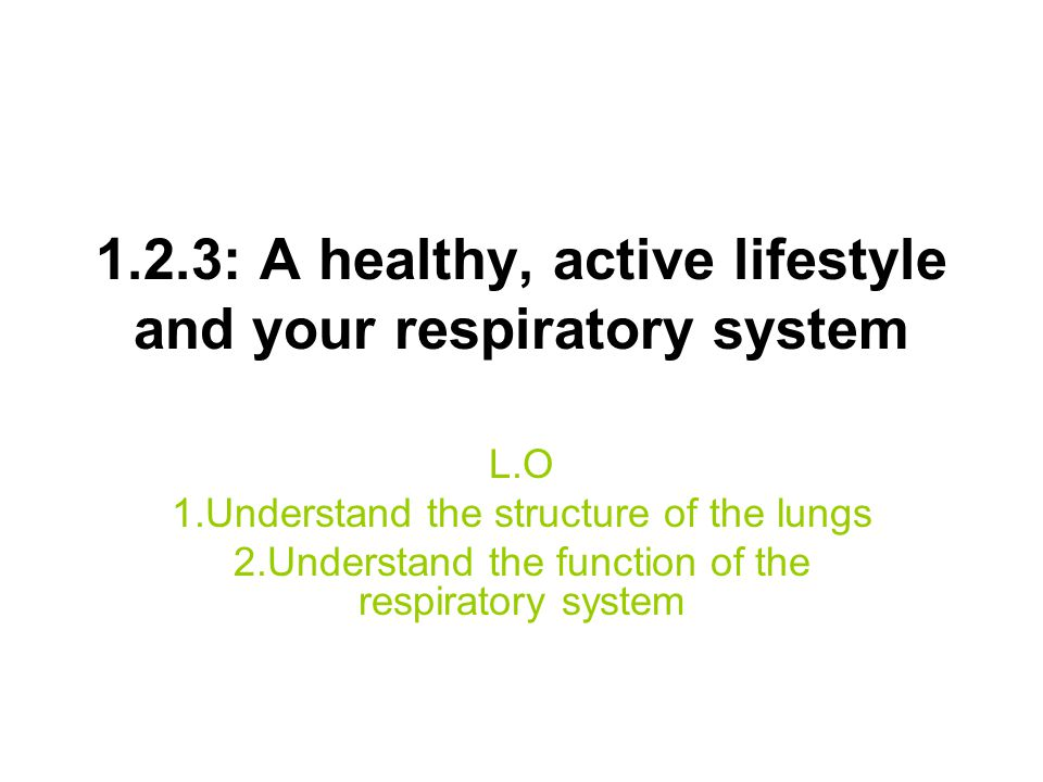 1.2.3: A healthy, active lifestyle and your respiratory system L.O 1.Understand the structure of the lungs 2.Understand the function of the respirator