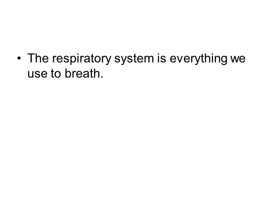 The respiratory system is everything we use to breath.