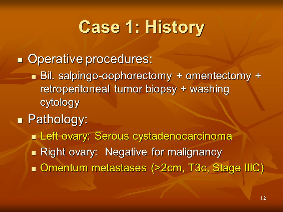 12 Case 1: History Operative procedures: Operative procedures: Bil.