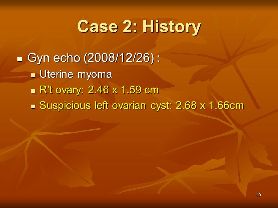 15 Case 2: History Gyn echo (2008/12/26) : Gyn echo (2008/12/26) : Uterine myoma Uterine myoma R't ovary: 2.46 x 1.59 cm R't ovary: 2.46 x 1.59 cm Sus