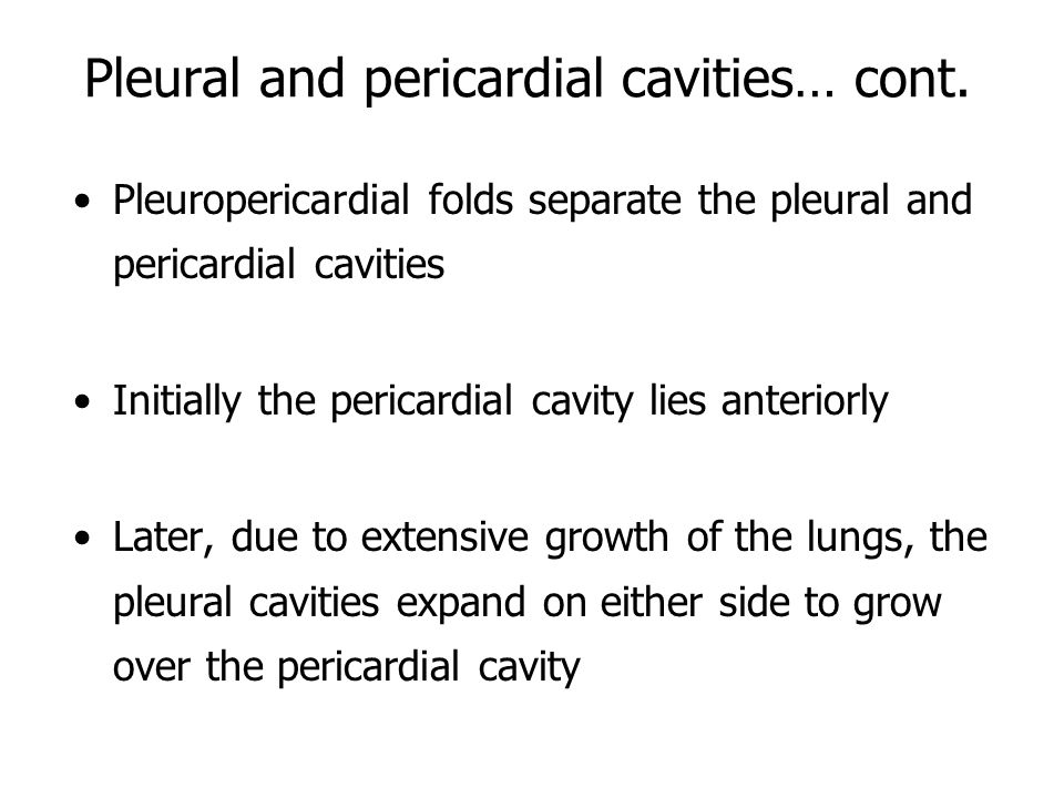 Pleural and pericardial cavities… cont.
