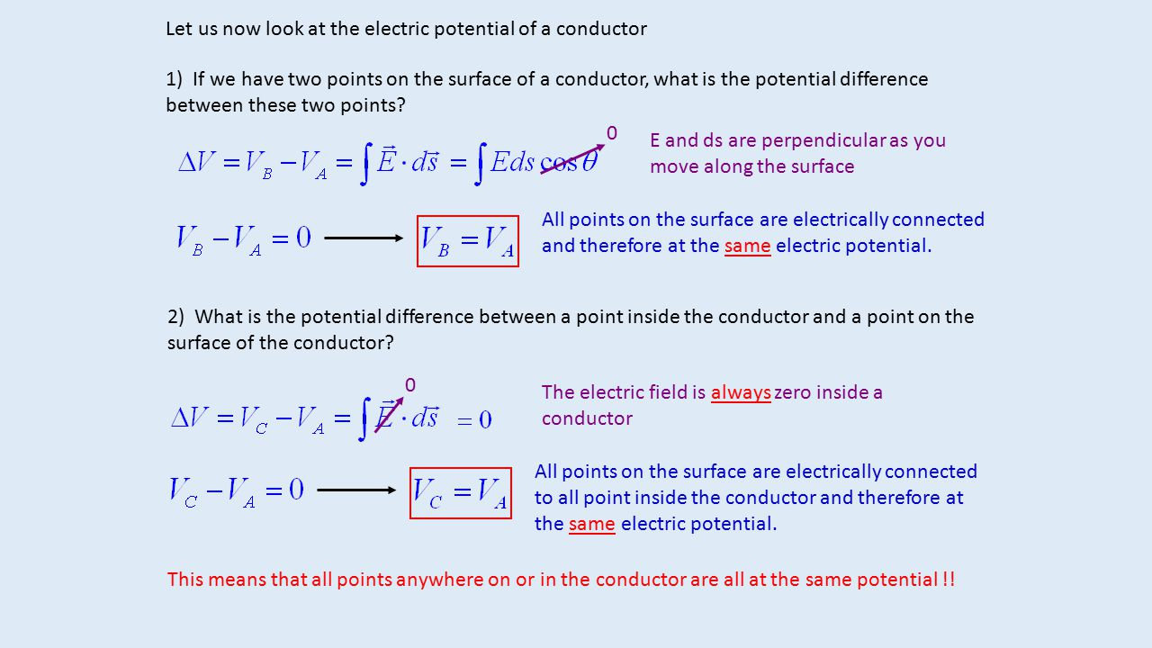 Let us now look at the electric potential of a conductor 1) If we have two points on the surface of a conductor, what is the potential difference betw