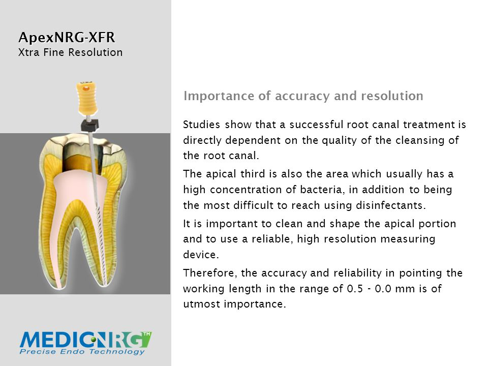 ApexNRG-XFR Xtra Fine Resolution Studies show that a successful root canal treatment is directly dependent on the quality of the cleansing of the root canal.