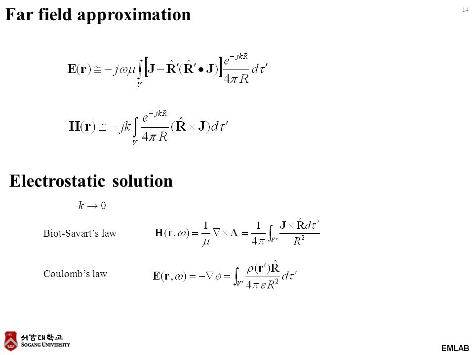 EMLAB 14 Far field approximation Electrostatic solution Biot-Savart's law Coulomb's law