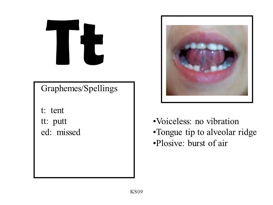 KS09 Tt Voiceless: no vibration Tongue tip to alveolar ridge Plosive: burst of air Graphemes/Spellings t: tent tt: putt ed: missed