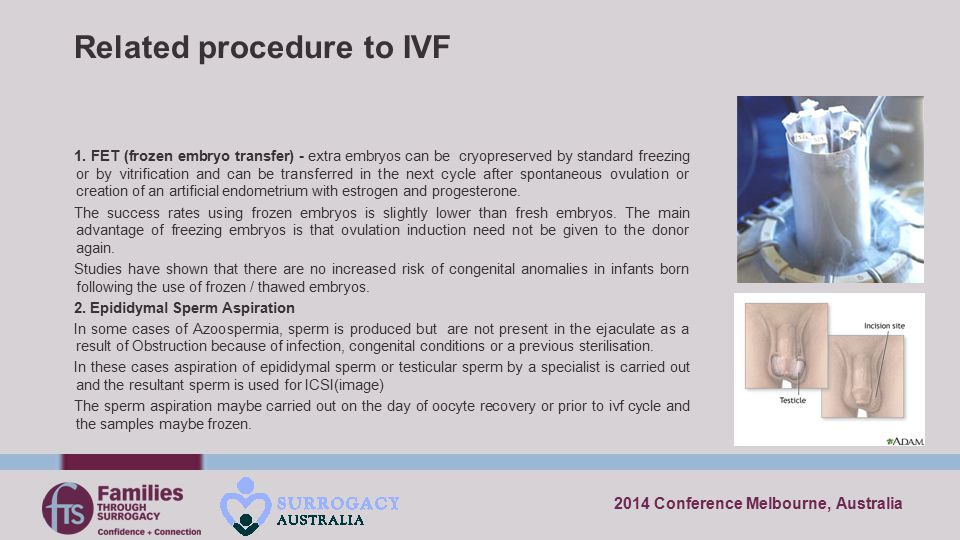 2014 Conference Melbourne, Australia Related procedure to IVF 1. FET (frozen embryo transfer) - extra embryos can be cryopreserved by standard freezin