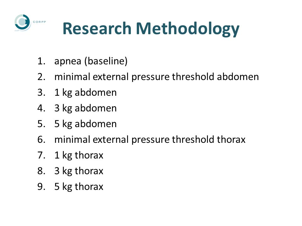 Research Methodology 1.apnea (baseline) 2.minimal external pressure threshold abdomen 3.1 kg abdomen 4.3 kg abdomen 5.5 kg abdomen 6.minimal external pressure threshold thorax 7.1 kg thorax 8.3 kg thorax 9.5 kg thorax
