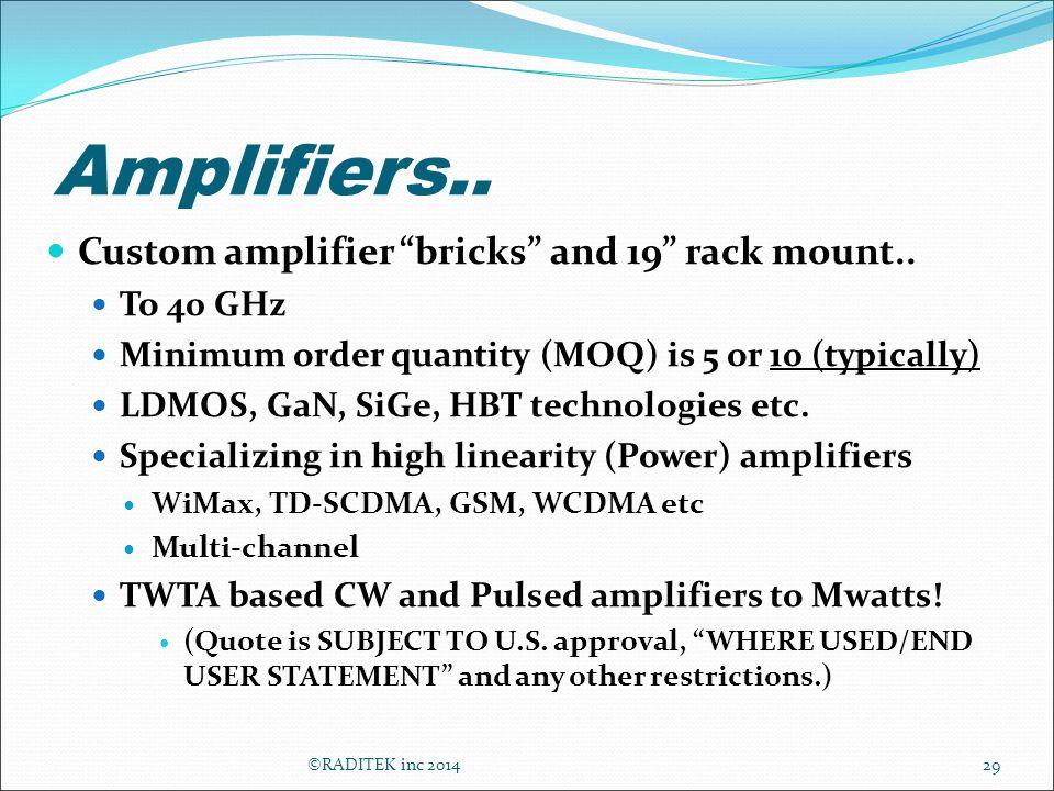 Amplifiers.. Custom amplifier bricks and 19 rack mount..