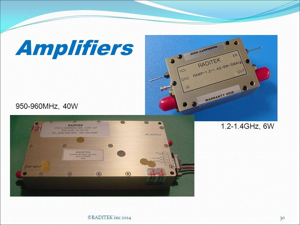 Amplifiers 30 1.2-1.4GHz, 6W 950-960MHz, 40W ©RADITEK inc 2014