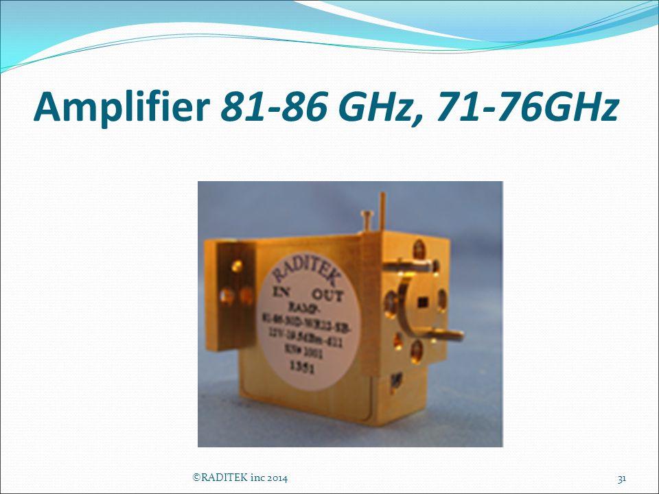 Amplifier 81-86 GHz, 71-76GHz 31©RADITEK inc 2014