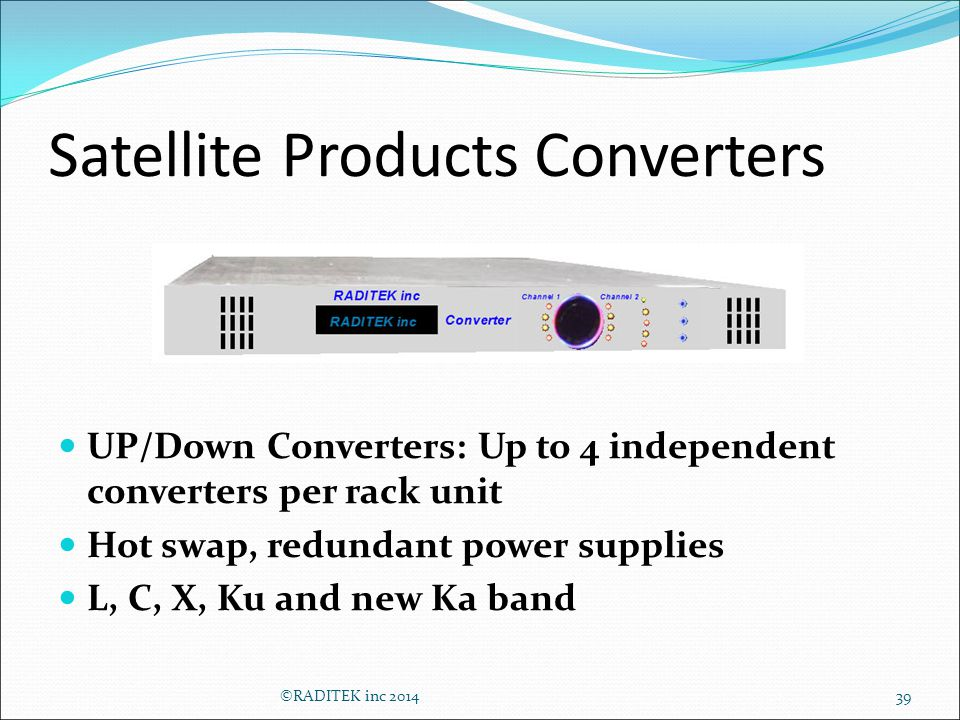 Satellite Products Converters 39 UP/Down Converters: Up to 4 independent converters per rack unit Hot swap, redundant power supplies L, C, X, Ku and new Ka band ©RADITEK inc 2014
