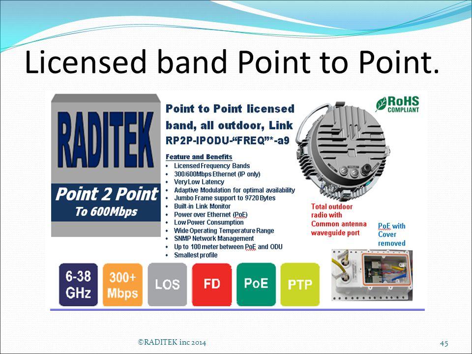 Licensed band Point to Point. 45©RADITEK inc 2014