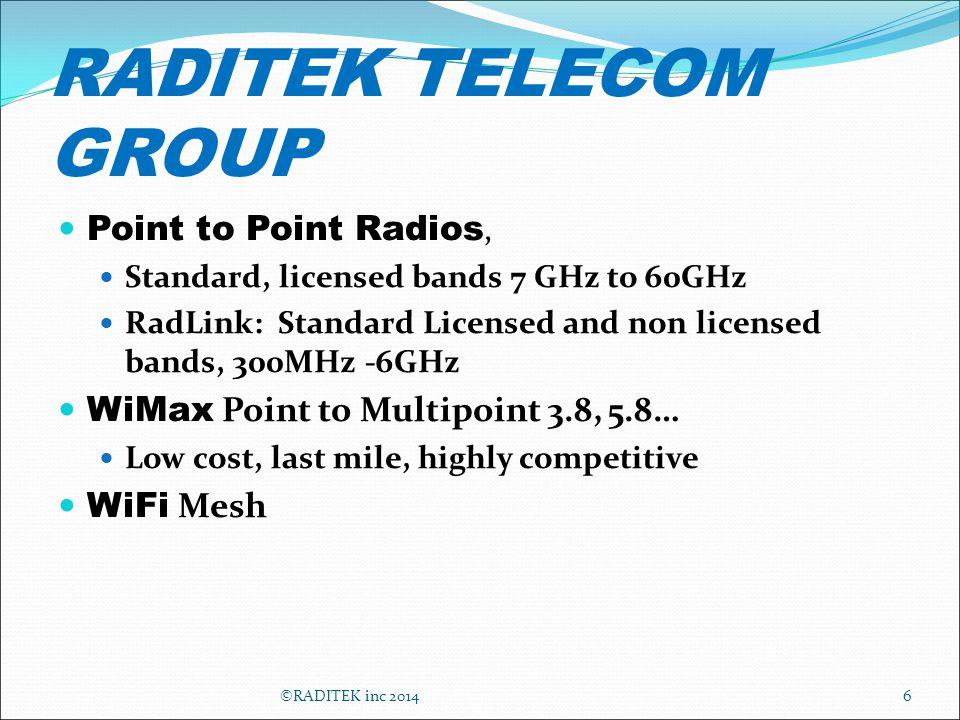 RADITEK TELECOM GROUP Point to Point Radios, Standard, licensed bands 7 GHz to 60GHz RadLink: Standard Licensed and non licensed bands, 300MHz -6GHz W