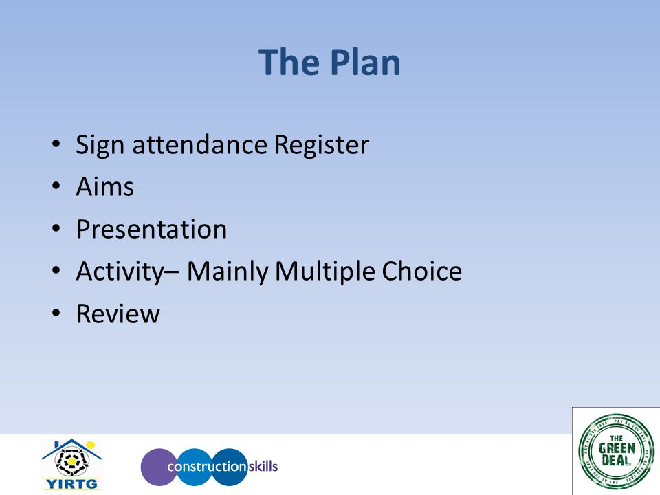 The Plan Sign attendance Register Aims Presentation Activity– Mainly Multiple Choice Review