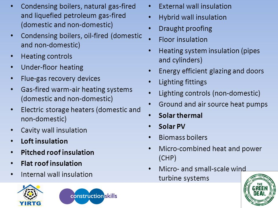 Condensing boilers, natural gas-fired and liquefied petroleum gas-fired (domestic and non-domestic) Condensing boilers, oil-fired (domestic and non-domestic) Heating controls Under-floor heating Flue-gas recovery devices Gas-fired warm-air heating systems (domestic and non-domestic) Electric storage heaters (domestic and non-domestic) Cavity wall insulation Loft insulation Pitched roof insulation Flat roof insulation Internal wall insulation External wall insulation Hybrid wall insulation Draught proofing Floor insulation Heating system insulation (pipes and cylinders) Energy efficient glazing and doors Lighting fittings Lighting controls (non-domestic) Ground and air source heat pumps Solar thermal Solar PV Biomass boilers Micro-combined heat and power (CHP) Micro- and small-scale wind turbine systems