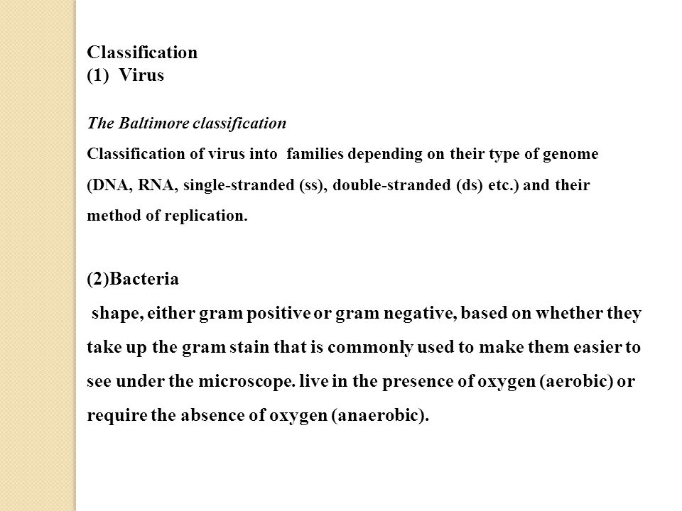 Classification (1) Virus The Baltimore classification Classification of virus into families depending on their type of genome (DNA, RNA, single-stranded (ss), double-stranded (ds) etc.) and their method of replication.