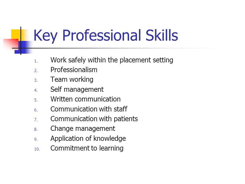 Key Professional Skills 1. Work safely within the placement setting 2.