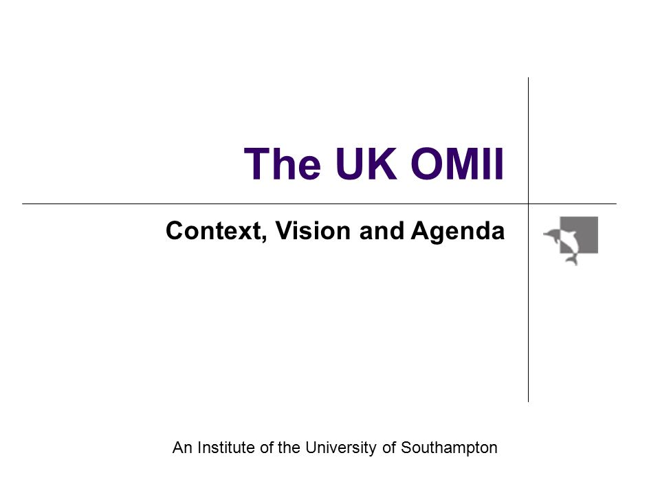 The UK OMII Context, Vision and Agenda An Institute of the University of Southampton