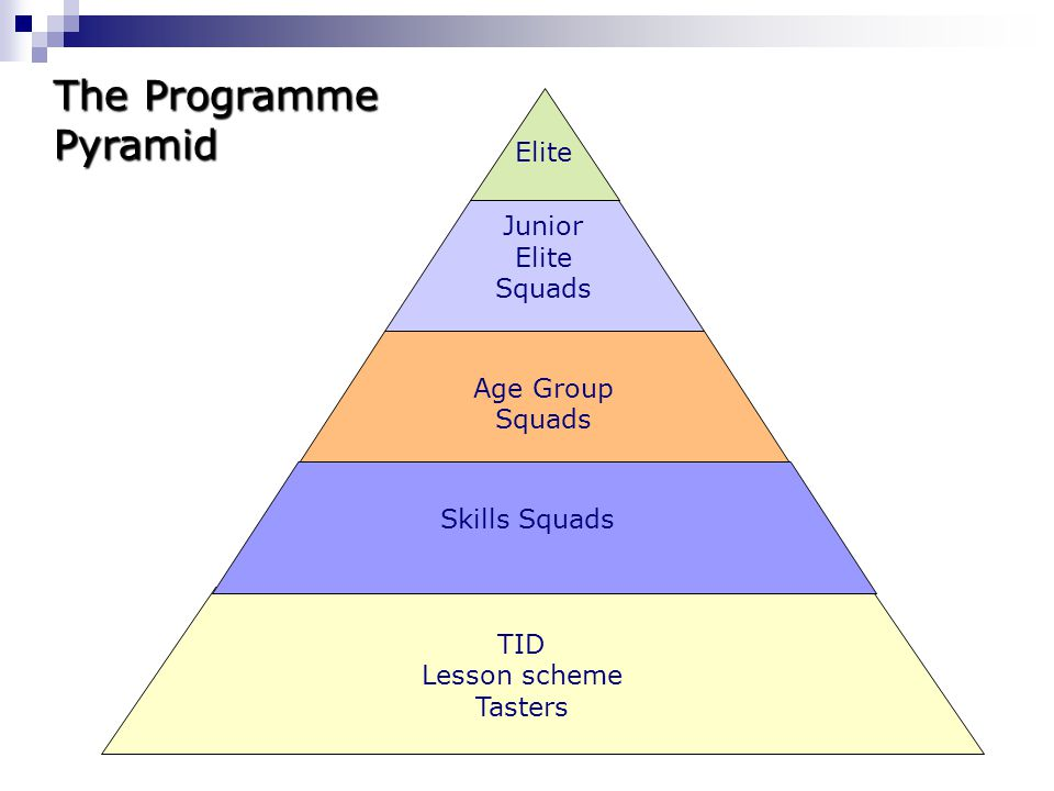 TID Lesson scheme Tasters Junior Elite Squads Age Group Squads Skills Squads Elite The Programme Pyramid