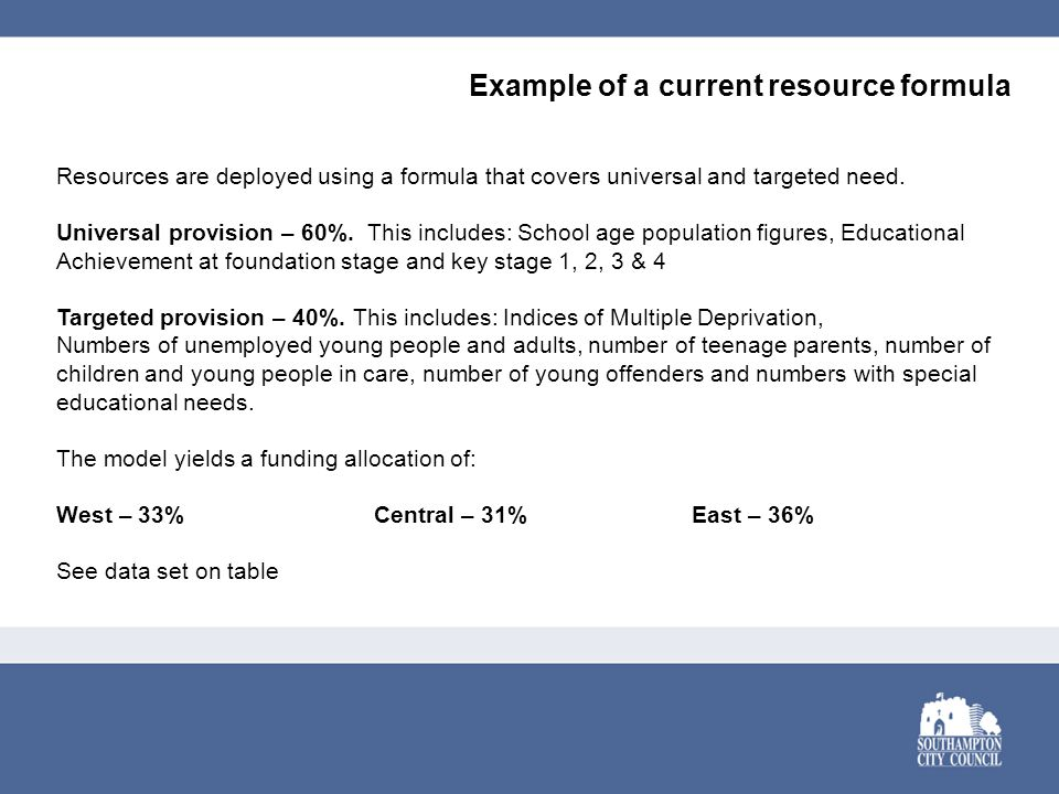 Example of a current resource formula Resources are deployed using a formula that covers universal and targeted need.