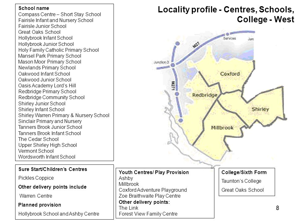 8 Locality profile - Centres, Schools, College - West School name Compass Centre – Short Stay School Fairisle Infant and Nursery School Fairisle Junior School Great Oaks School Hollybrook Infant School Hollybrook Junior School Holy Family Catholic Primary School Mansel Park Primary School Mason Moor Primary School Newlands Primary School Oakwood Infant School Oakwood Junior School Oasis Academy Lord's Hill Redbridge Primary School Redbridge Community School Shirley Junior School Shirley Infant School Shirley Warren Primary & Nursery School Sinclair Primary and Nursery Tanners Brook Junior School Tanners Brook Infant School The Cedar School Upper Shirley High School Vermont School Wordsworth Infant School Sure Start/Children's Centres Pickles Coppice Other delivery points include Warren Centre Planned provision Hollybrook School and Ashby Centre College/Sixth Form Taunton's College Great Oaks School Youth Centres/ Play Provision Ashby Millbrook Coxford Adventure Playground Zoe Braithwaite Play Centre Other delivery points: The Link Forest View Family Centre