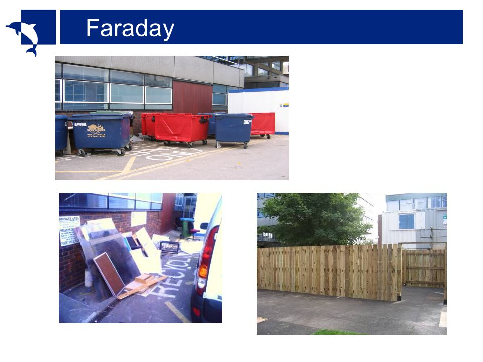 Faraday: BREEAM Management Commissioning (9): M4 – Considerate Contractors (2) M5 – Construction site impacts (4) - monitor construction waste - Sort & recycle construction waste M12 – Users guide (1) Materials (12): MWI – Material spec (4) MW5 – Reuse of façade (1) MW6 – Reuse of structure (1) MW7 – Recycled aggregate (1) MW8 – Responsible sourcing of materials (3) MW12 – Storage of recyclable waste (1) BREEAM rating% benchmark Unclassified<25 Pass ≥ 25 - <40 Good ≥ 40 - <55 Very Good ≥ 55 - <70 Excellent ≥ 70