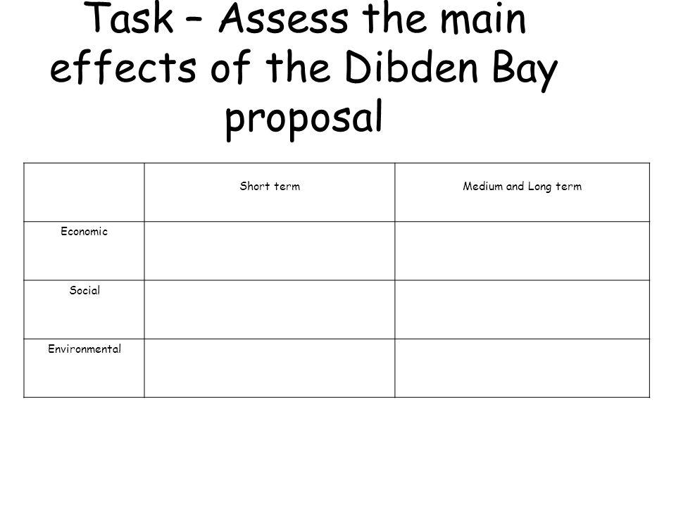 Short termMedium and Long term Economic Social Environmental Task – Assess the main effects of the Dibden Bay proposal