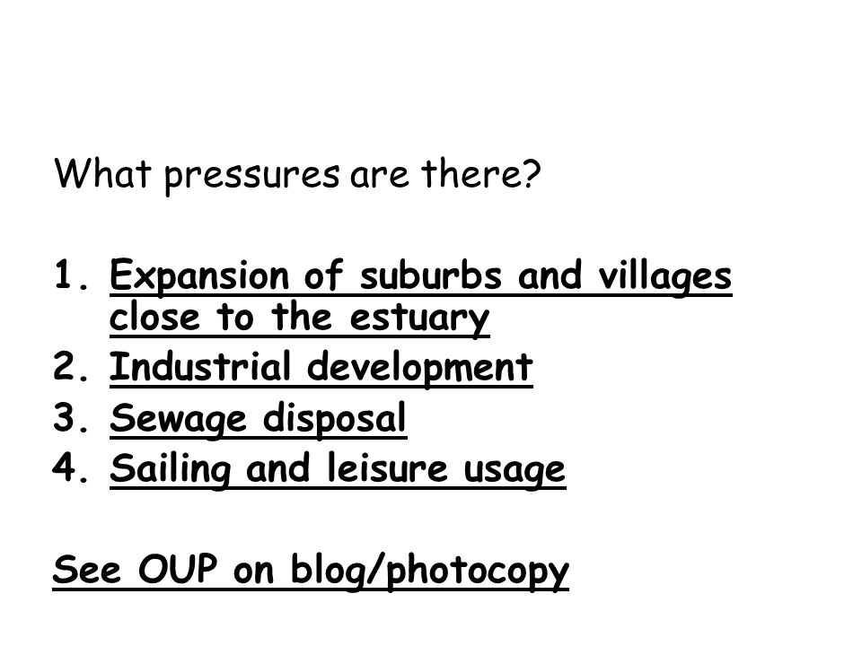 What pressures are there? 1.Expansion of suburbs and villages close to the estuary 2.Industrial development 3.Sewage disposal 4.Sailing and leisure us