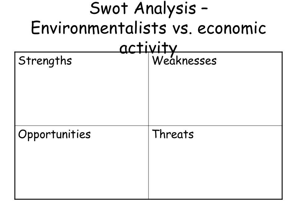 Swot Analysis – Environmentalists vs. economic activity StrengthsWeaknesses OpportunitiesThreats