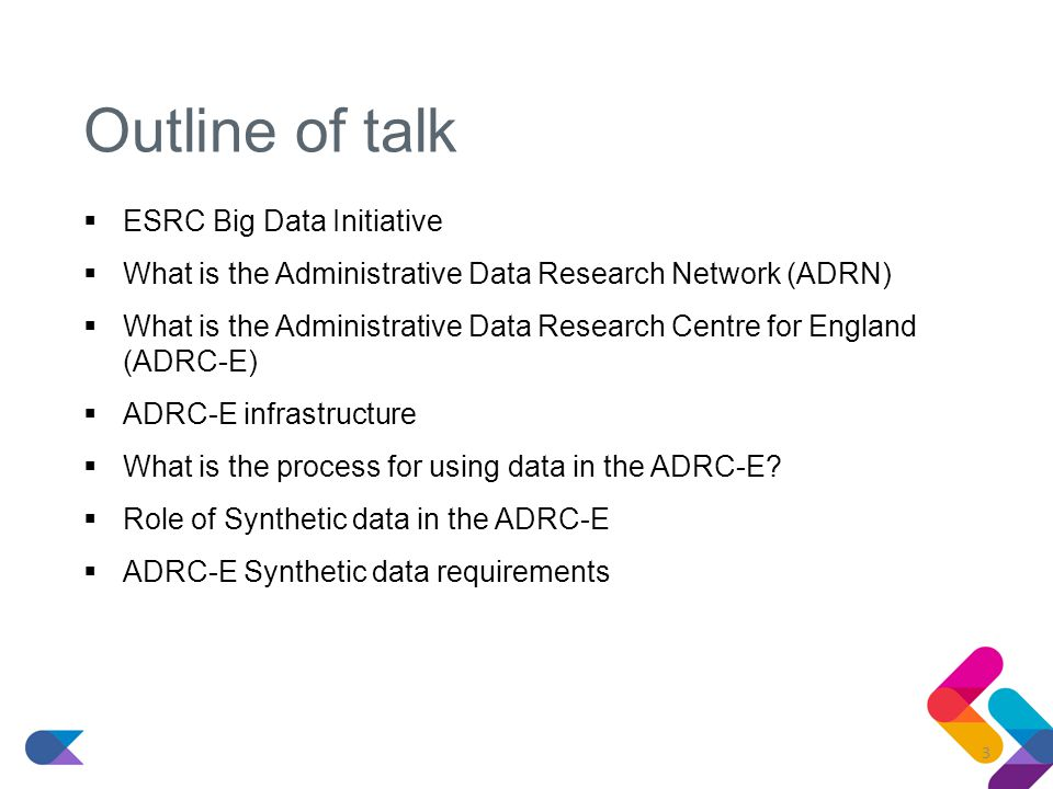 Outline of talk  ESRC Big Data Initiative  What is the Administrative Data Research Network (ADRN)  What is the Administrative Data Research Centre for England (ADRC-E)  ADRC-E infrastructure  What is the process for using data in the ADRC-E.