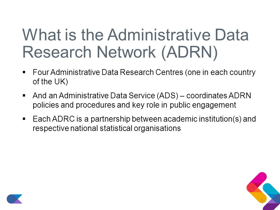 What is the Administrative Data Research Network (ADRN)  Four Administrative Data Research Centres (one in each country of the UK)  And an Administrative Data Service (ADS) – coordinates ADRN policies and procedures and key role in public engagement  Each ADRC is a partnership between academic institution(s) and respective national statistical organisations 5