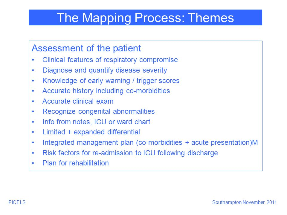PICELSSouthampton November 2011 The Mapping Process: Themes Specific Pathology Common emergencies (asthma, respiratory failure) Common acute resp pathology (pneumonia, collapse/consolidation, pulmonary oedema, ALI, ARDS, pleural effusion, UAO, LAO) Prevention and management of pulmonary aspiration Detection and management pneumothorax Neonates (RDS, CLD, Preterm baby, congenital abnormalities, antenatal influences) Trauma (abdo + thoracic, smoke inhalation, fat embolism) Post-op (thoracotomy, cardiac, lung resection) Pulmonary hypertension, pulmonary embolism Acute + chronic disease Air transport
