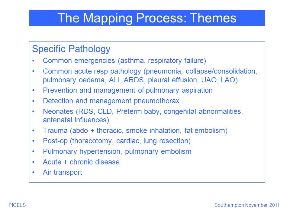 PICELSSouthampton November 2011 The Mapping Process: Themes Specific Pathology Common emergencies (asthma, respiratory failure) Common acute resp path