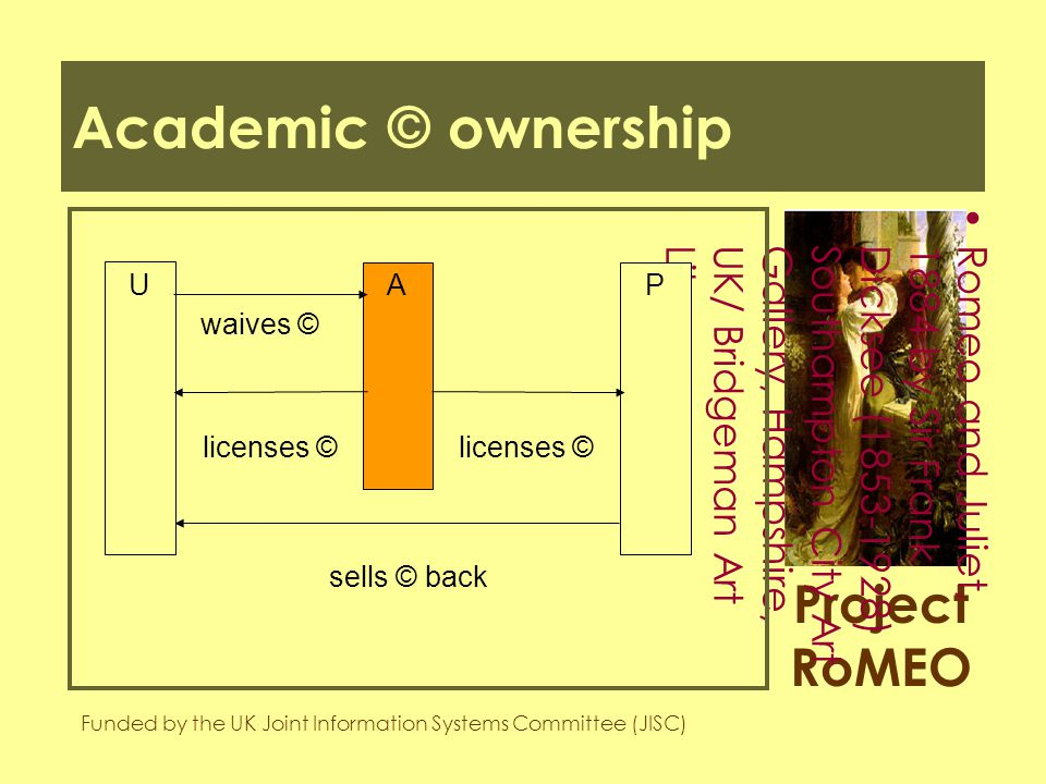 Project RoMEO Funded by the UK Joint Information Systems Committee (JISC) Romeo and Juliet,1884 by Sir FrankDicksee (1853-1928)Southampton City ArtGallery, Hampshire,UK/ Bridgeman ArtLibrary Academic © ownership U PA waives © licenses © sells © back