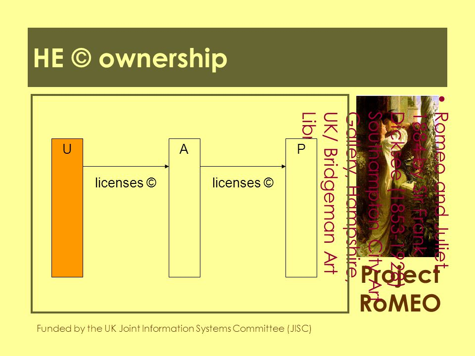 Project RoMEO Funded by the UK Joint Information Systems Committee (JISC) Romeo and Juliet,1884 by Sir FrankDicksee (1853-1928)Southampton City ArtGallery, Hampshire,UK/ Bridgeman ArtLibrary HE © ownership UPA licenses ©