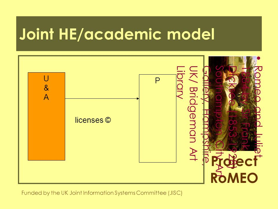 Project RoMEO Funded by the UK Joint Information Systems Committee (JISC) Romeo and Juliet,1884 by Sir FrankDicksee (1853-1928)Southampton City ArtGallery, Hampshire,UK/ Bridgeman ArtLibrary Joint HE/academic model U&AU&A P licenses ©