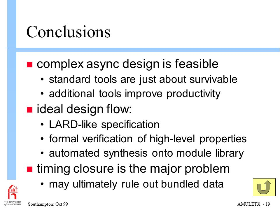 Southampton: Oct 99AMULET3i - 19 Conclusions n complex async design is feasible standard tools are just about survivable additional tools improve productivity n ideal design flow: LARD-like specification formal verification of high-level properties automated synthesis onto module library n timing closure is the major problem may ultimately rule out bundled data