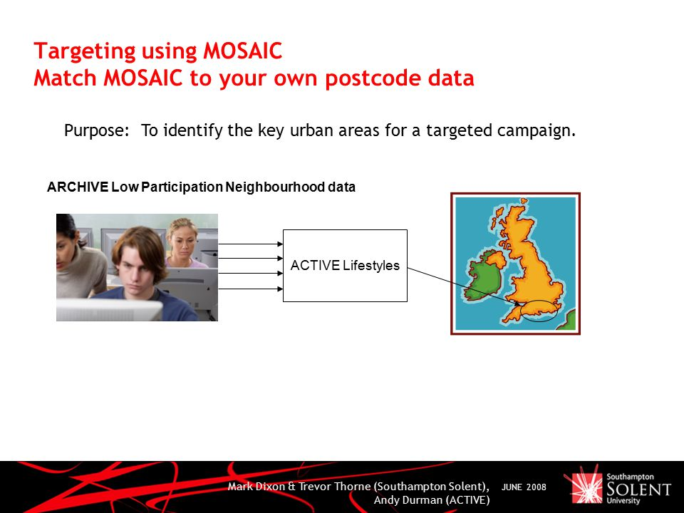 Mark Dixon & Trevor Thorne (Southampton Solent), Andy Durman (ACTIVE) JUNE 2008 Targeting using MOSAIC Match MOSAIC to your own postcode data Purpose: To identify the key urban areas for a targeted campaign.