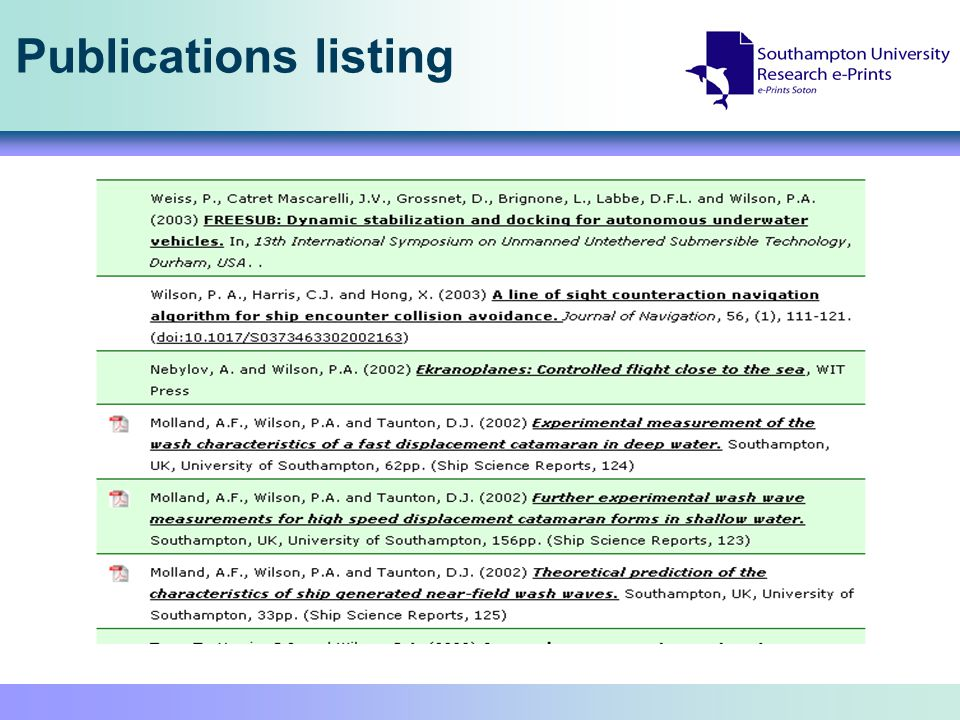 Publications listing