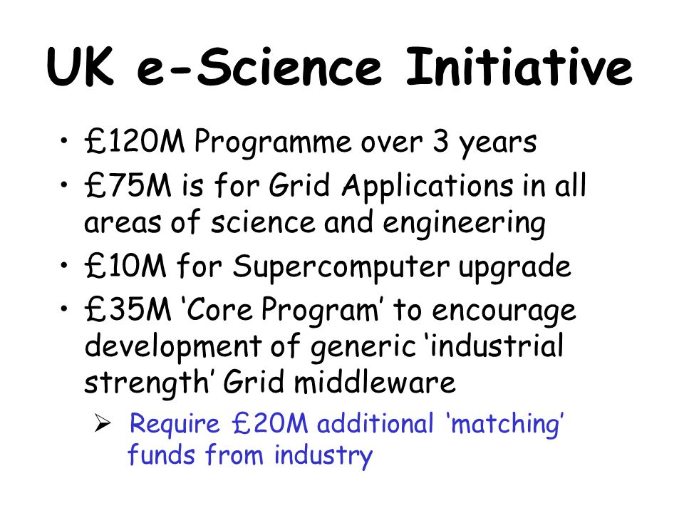 UK e-Science Initiative £120M Programme over 3 years £75M is for Grid Applications in all areas of science and engineering £10M for Supercomputer upgrade £35M 'Core Program' to encourage development of generic 'industrial strength' Grid middleware  Require £20M additional 'matching' funds from industry