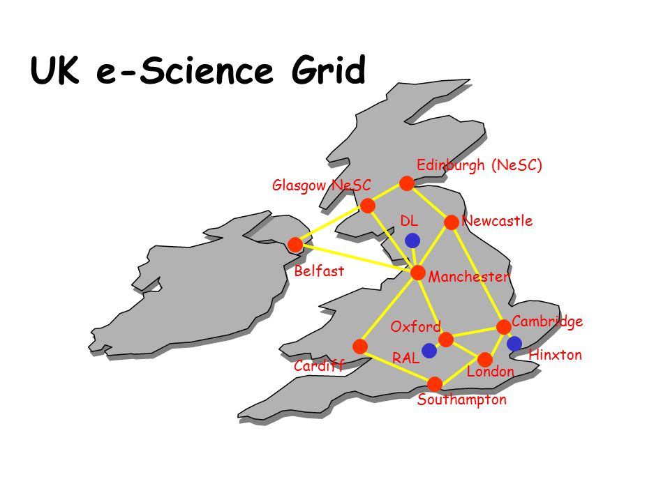Cambridge Newcastle Edinburgh (NeSC) Oxford Glasgow NeSC Manchester Cardiff Southampton London Belfast DL RAL Hinxton UK e-Science Grid