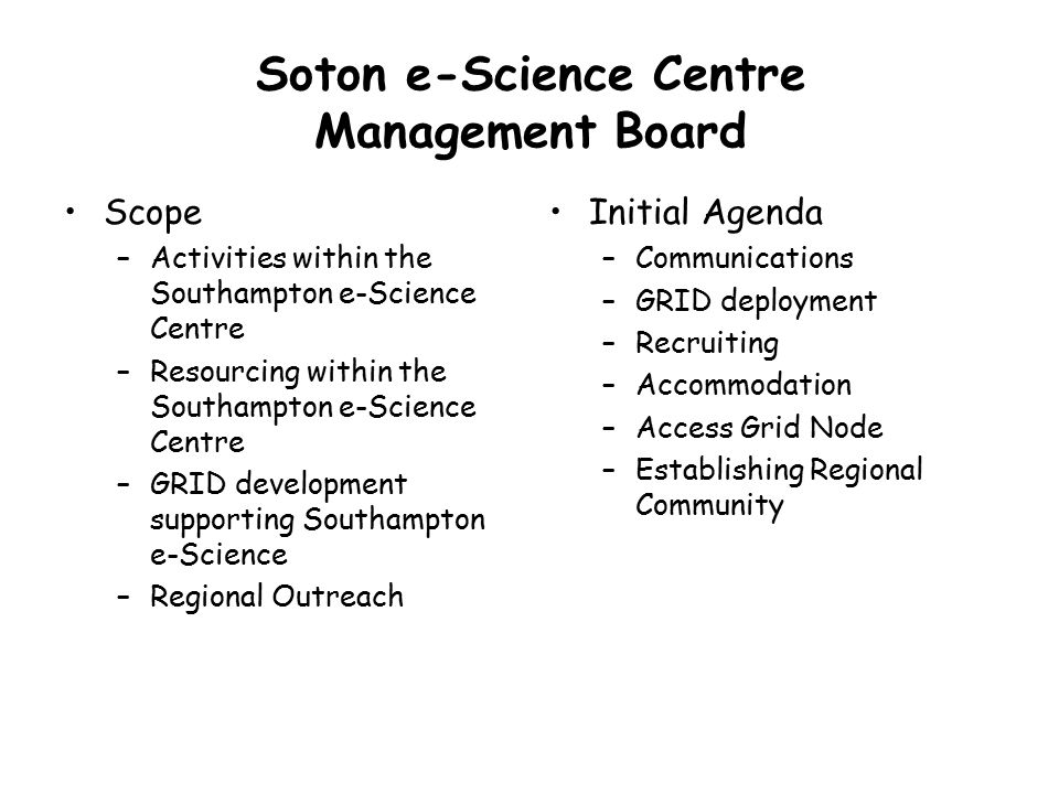 Soton e-Science Centre Management Board Scope –Activities within the Southampton e-Science Centre –Resourcing within the Southampton e-Science Centre