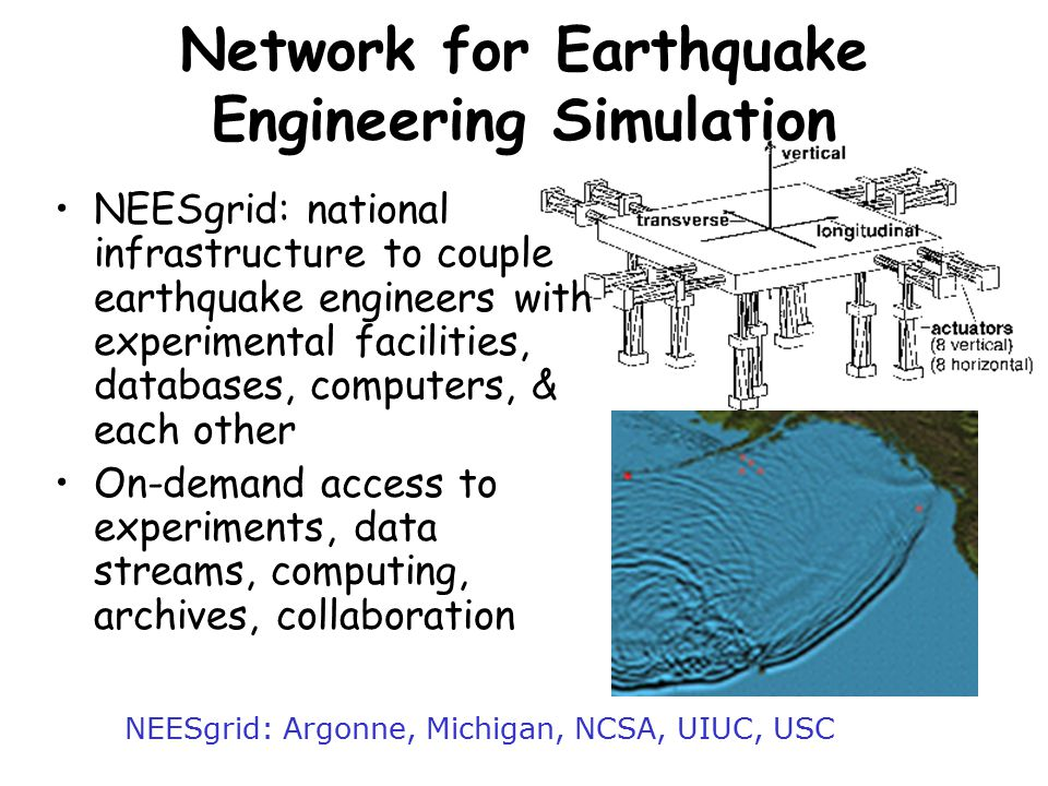 Network for Earthquake Engineering Simulation NEESgrid: national infrastructure to couple earthquake engineers with experimental facilities, databases, computers, & each other On-demand access to experiments, data streams, computing, archives, collaboration NEESgrid: Argonne, Michigan, NCSA, UIUC, USC