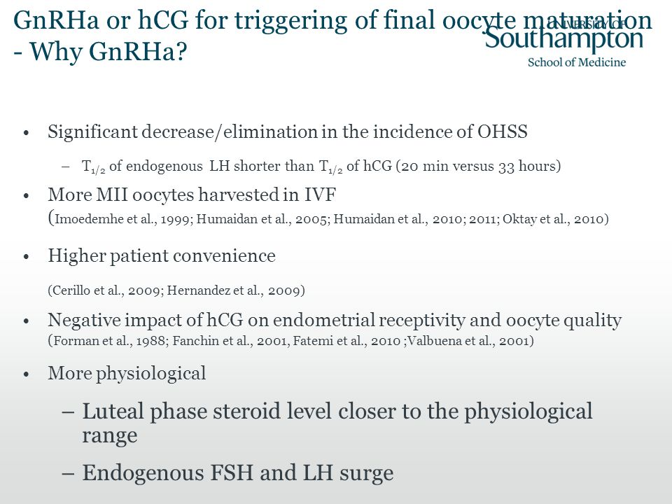 GnRHa or hCG for triggering of final oocyte maturation - Why GnRHa? Significant decrease/elimination in the incidence of OHSS –T 1/2 of endogenous LH