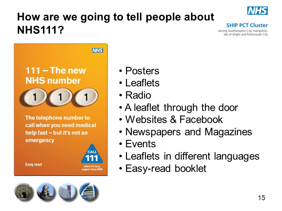 How are we going to tell people about NHS111? 15 Posters Leaflets Radio A leaflet through the door Websites & Facebook Newspapers and Magazines Events