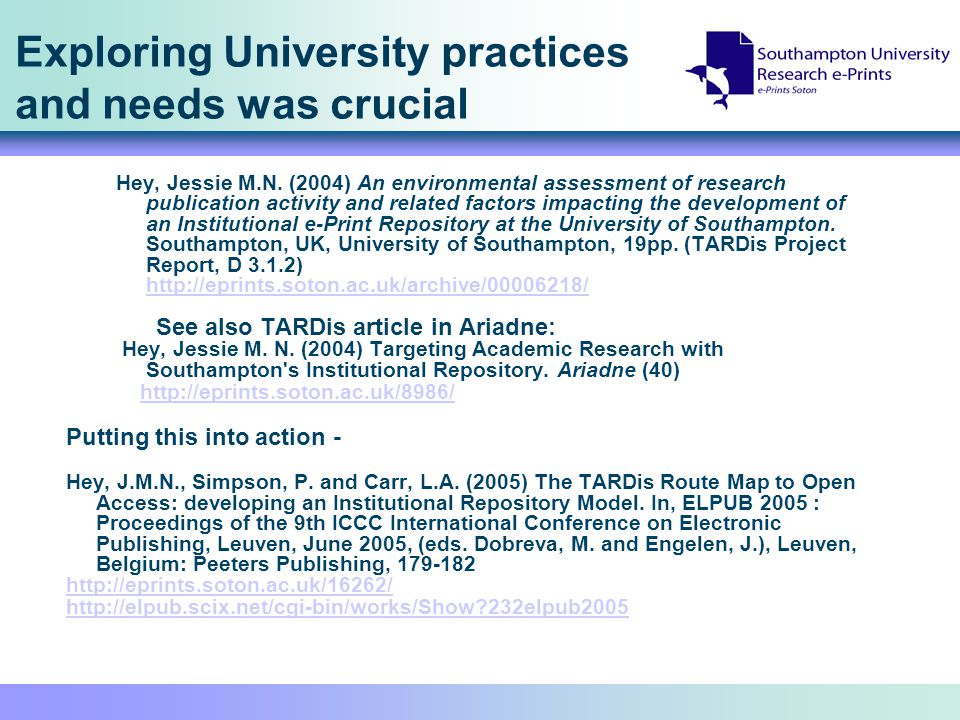 Achieving a slower but more sustainable model – the TARDis route to achievable open access To achieve the original vision we are moving around the clock face Collaborating with academics to provide tailored valued services for different disciplines (needing extra functionality) Aided by a fast moving shared international movement
